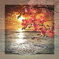 Картина на стекле с МДФ подложкой Орхидеи.Море 60*60 см