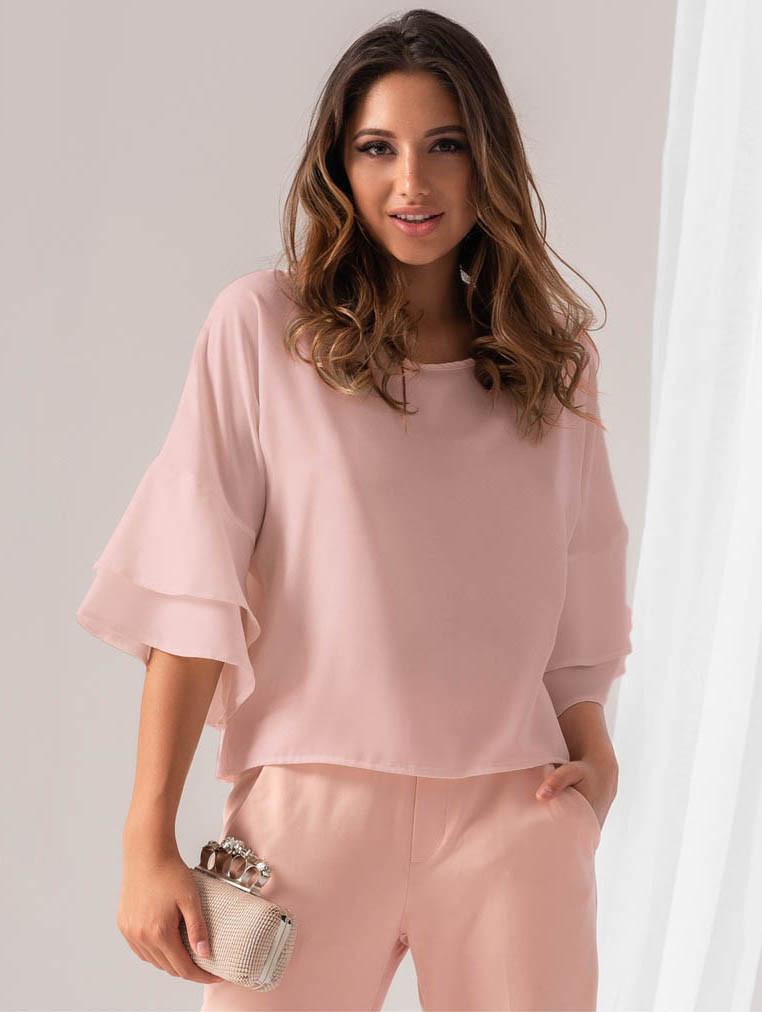 f53c2df8fae Женская блузка розового цвета с воланами на рукавах. Модель 18932 - Irse в  Одессе