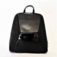 Женский лаковый рюкзак David Jones из экокожи черного цвета YСС-007058, фото 1