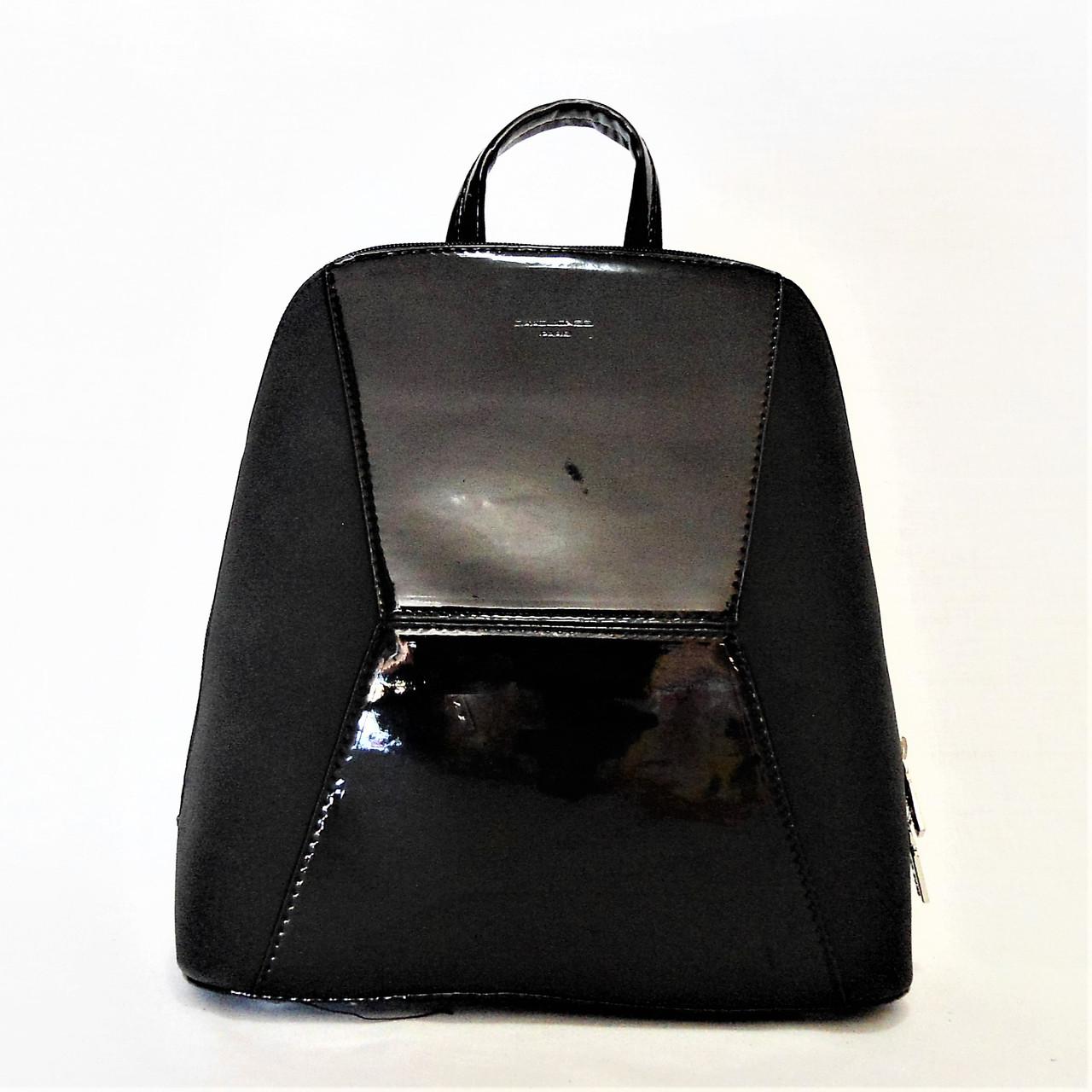 e0bb6010ac41 Женский лаковый рюкзак David Jones из экокожи черного цвета YСС-007058