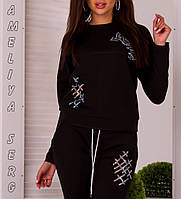 Модный турецкий стильный спортивный костюм женский чёрный, фото 1