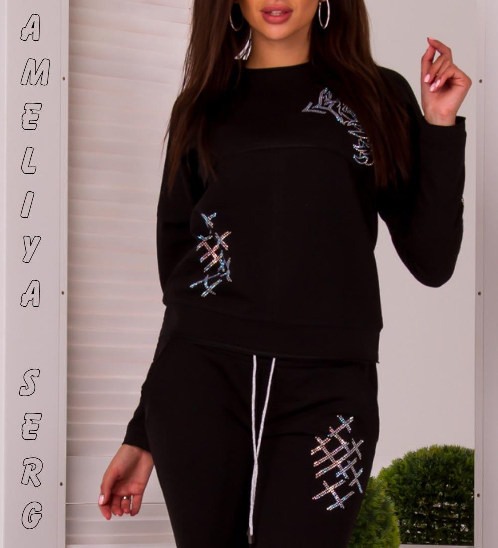 d7a5f725 Модный турецкий стильный спортивный костюм женский чёрный -  Оптово-розничный интернет-магазин женской одежды