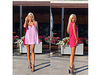 Шифоновое розовое платье украшено пайеткой 31300