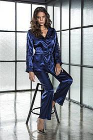 Шёлковый набор белья ТМ Bondy 2368 Кофта с длинным рукавом и штаны синего цвета