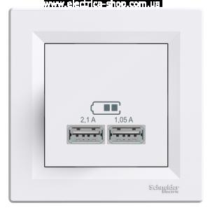 Розетка USB 2,1A Asfora Біла Schneider Electric, фото 2