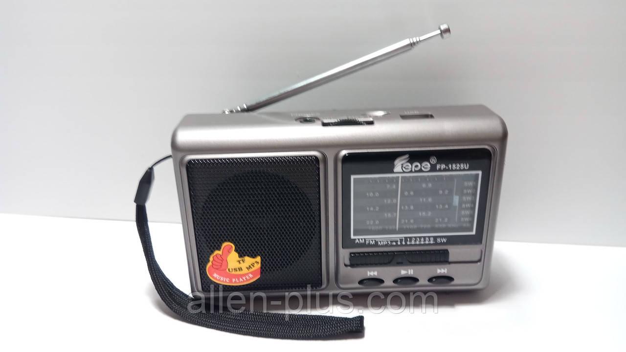 Радіоприймач FP-1525U, FM/MW/SW, USB/microSD, mp3, акумулятор Li-Ion 1200mAh