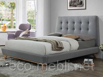 Двоспальне ліжко з мякою оббивкою Dona 160 szary Signal