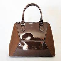 Лаковая женская сумочка DAVID DJONES коричневого цвета LМR-840481, фото 1