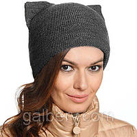 """Женская шапка """"Кошка"""" двойная вязка графит"""