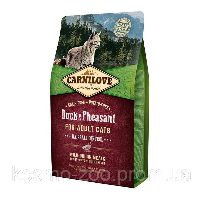 Корм Карнилав (Carnilove Duck & Pheasant Hairball Control) с уткой и фазаном для выведения комков шерсти, 6 кг