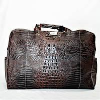 Стильная дорожная сумка рептилия коричневого цвета DEС-077000, фото 1