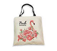 """Эко-сумка с черной ручкой """"Фламинго. Красота в розовых тонах."""", фото 1"""