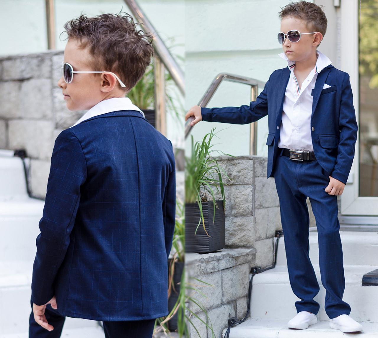 """Детский стильный костюм для мальчика 608 """"Двойка Классика Принт"""""""