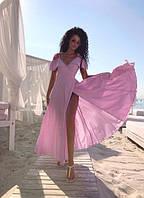 Платье на запах женское из ткани софт с разрезом на юбке (К23633), фото 1