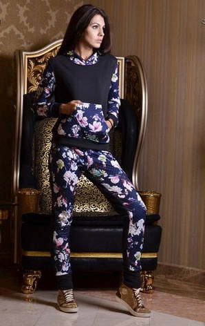 Женский спортивный костюм  с цветочным принтом , фото 2