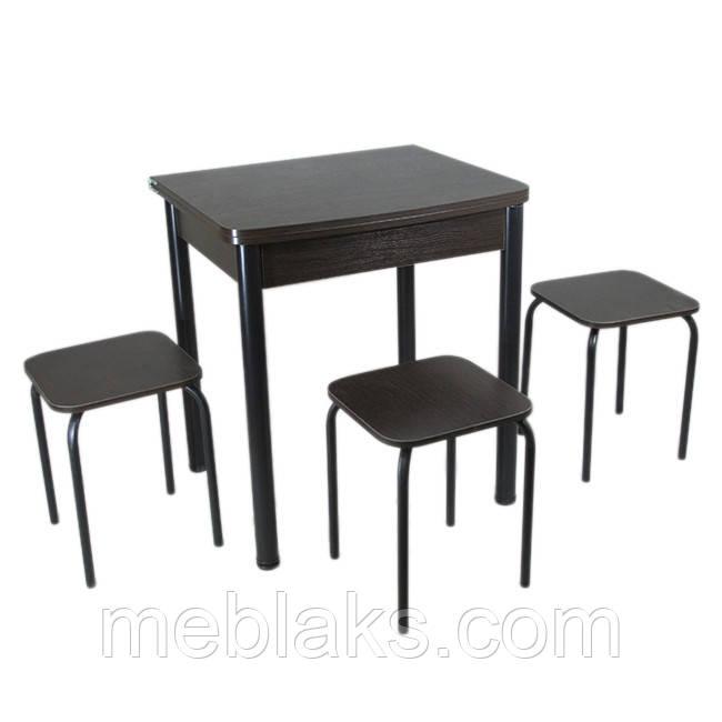 Столовый набор Овале (Раскладной стол + 3 табурета) ножки черный металл Тавол