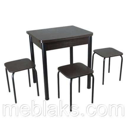 Столовый набор Овале (Раскладной стол + 3 табурета) ножки черный металл Тавол, фото 2