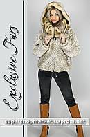 Женская шуба из искусственной норки, цвет бежевый леопард №46