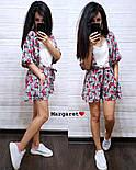 Женский летний костюм: накидка с поясом и шорты (2 цвета), фото 2