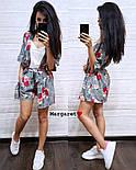 Женский летний костюм: накидка с поясом и шорты (2 цвета), фото 4