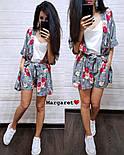 Женский летний костюм: накидка с поясом и шорты (2 цвета), фото 5