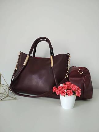 Стильна жіноча сумка бордового кольору з косметичкою 26*32*12 см, фото 2