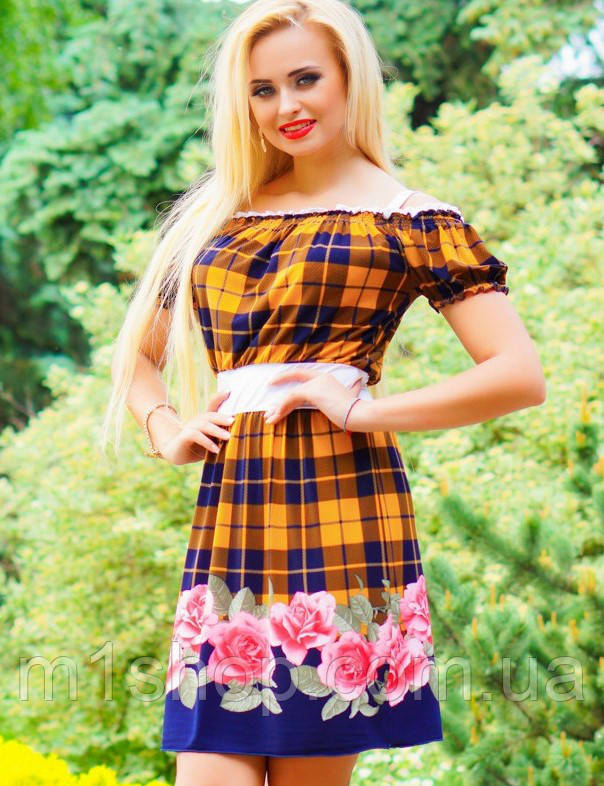 Цветочно-клетчатое летнее платье (0902-0903-0904-0905 svt)