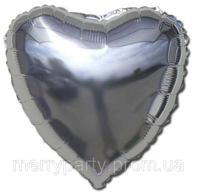 """16"""" (40 см) Сердце металлик серебро Китай шар фольгированный"""