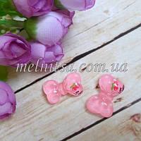 """Клеевой декор-серединка """"Бантик"""" 2,3 х 1,8 см, цвет розовый с перламутром , 1 шт"""