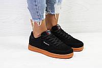 Женские кроссовки Reebok черные замшевые ( Реплика ААА+), фото 1