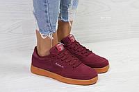 Женские кроссовки Reebok бордовые замшевые ( Реплика ААА+), фото 1