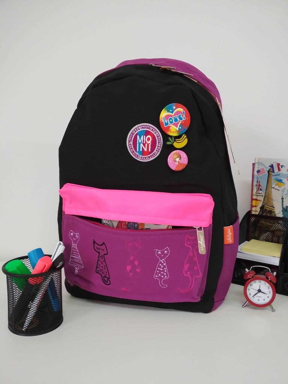 Школьный рюкзак для девочки с анатомической спинкой Migini принт Кошки 45*30*15 см