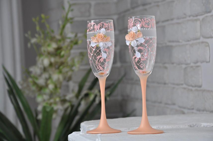 Бокалы свадебные  (2шт) Цветы персик