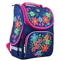 Ранец (рюкзак) - каркасный школьныйдля девочки - Цветы, PG-11 Flowers blue, Smart 554464