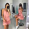 Платье сарафан на бретельках свободный с воланом, фото 3
