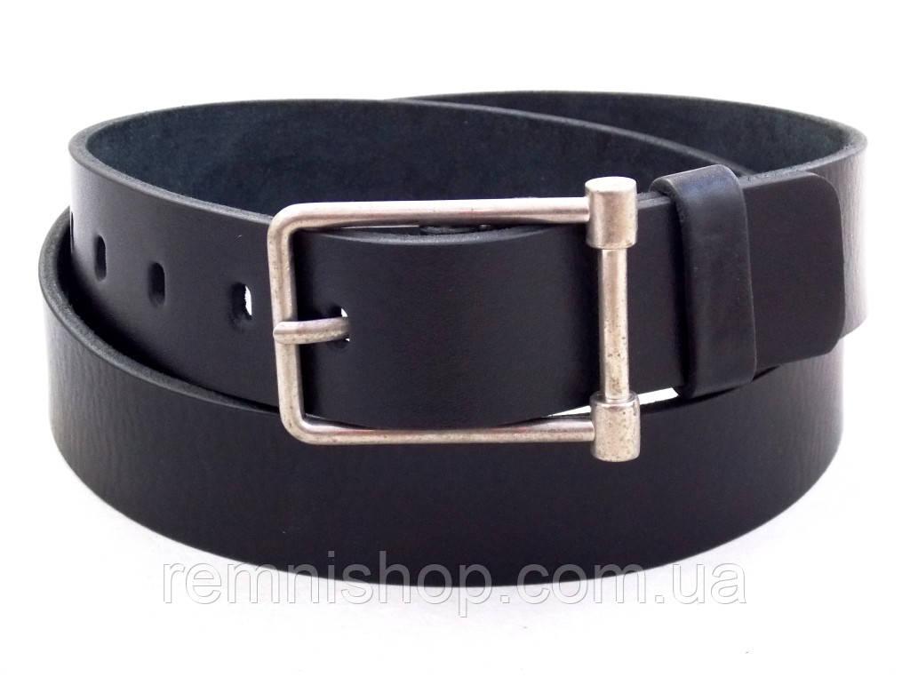 Мужской черный кожаный ремень Mr. Belt