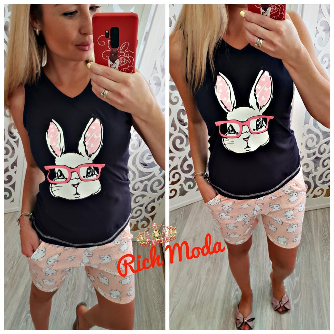 Хлопковая пижама майка и шорты с кроликом в очках