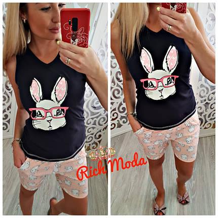 Хлопковая пижама майка и шорты с кроликом в очках, фото 2