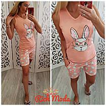 Хлопковая пижама майка и шорты с кроликом в очках, фото 3