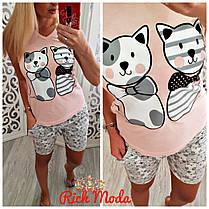 Милая приятная к телу пижамка с котиками, фото 3