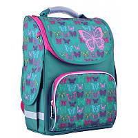 Ранец (рюкзак) - каркасный школьныйдля девочки бирюза - Бабочки, PG-11 Butterfly turquoise, 554449