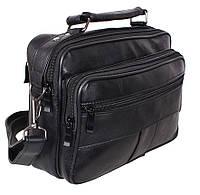 Кожаная мужская сумка через плечо барсетка горизонталка удобная качество черная 25х20 8s2022 Польша