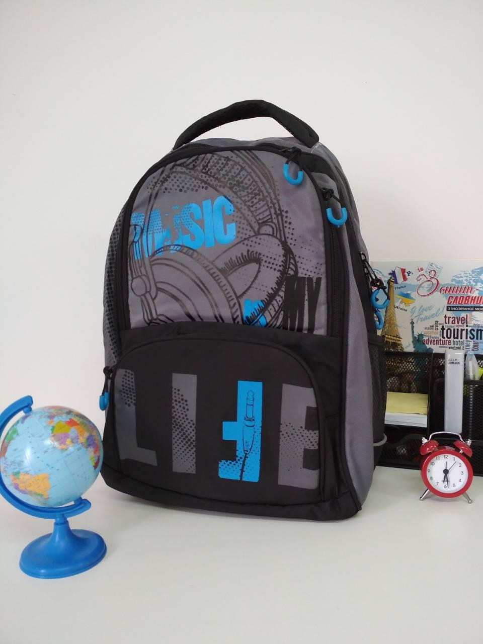 02e42831be35 Школьный рюкзак для мальчика с анатомической спинкой Geliyazi принт с  наушниками 40*30*20