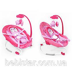 Детям шезлонг-качалка розовом цвете TILLY от 6 мес. до 1 года