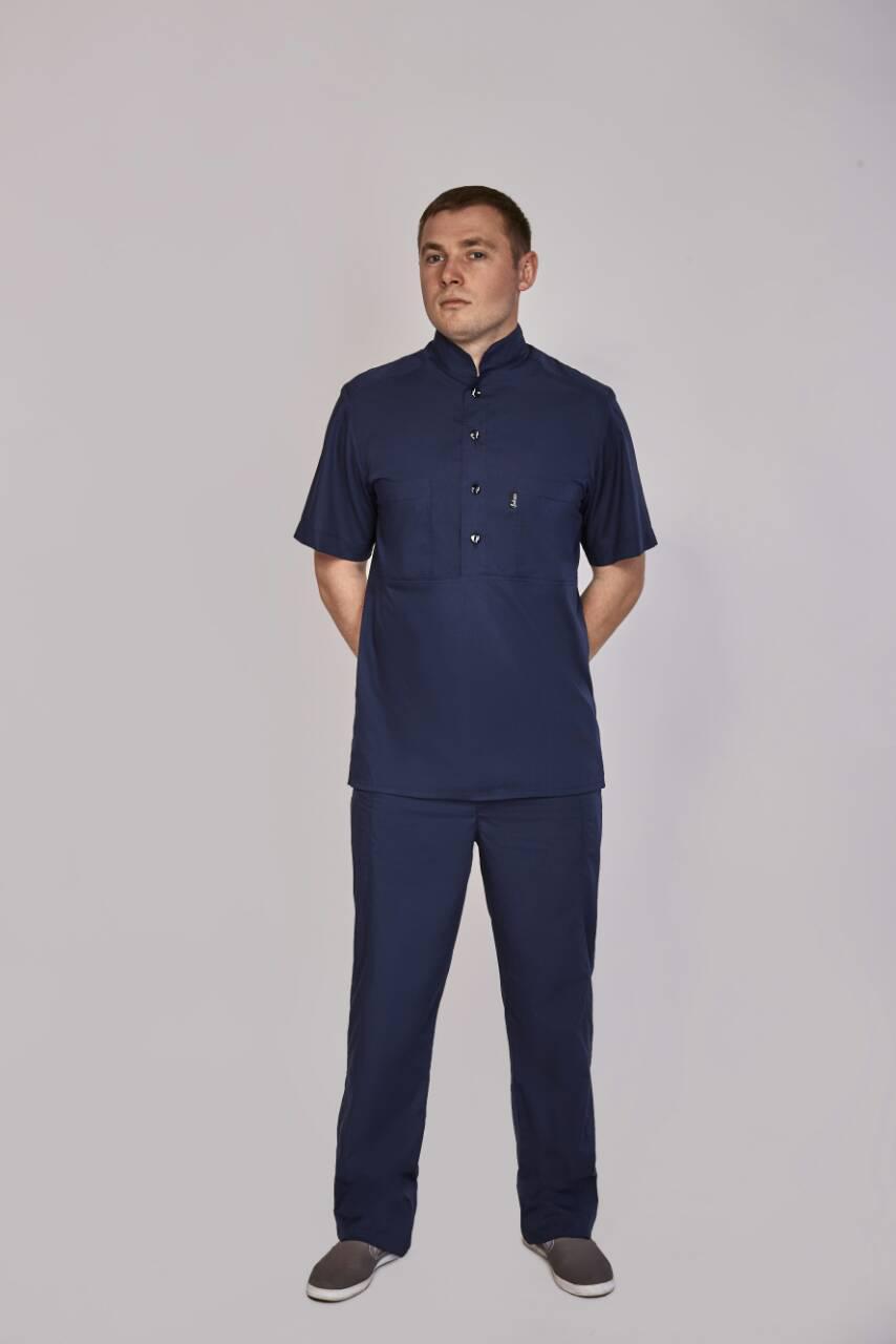 Мужской медицинский костюм синий на пуговицах. 44-58