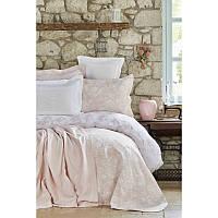 Набор постельное белье с покрывалом + плед Karaca Home - Story New 2018-2 pudra пудра евро