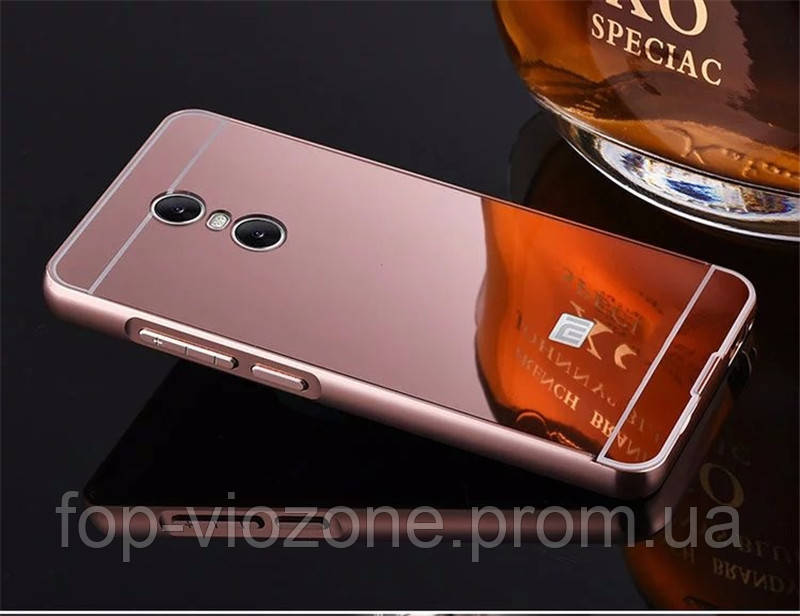 Зеркальный Чехол/Бампер для Xiaomi Redmi Note 4 Розовый (Металлический)