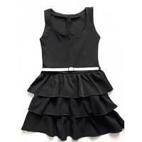 Школьный сарафан черного цвета c воланами Аннушка на девочку размеров 34, 36, 38  оптом и в розницу ,   купить
