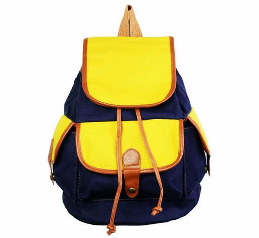 Рюкзак Холщовый Сине - желтый, фото 2