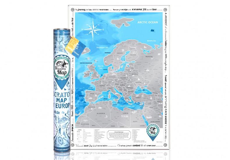 Скретч карта Discovery Maps Europe на английском языке